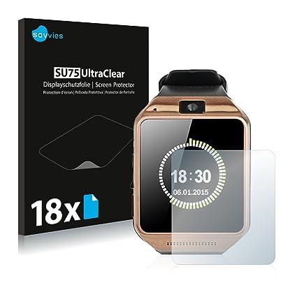Savvies Protector de Pantalla para Gearmax Smartwatch DZ09 Película Protectora [18 Unidades] - Screen Protector