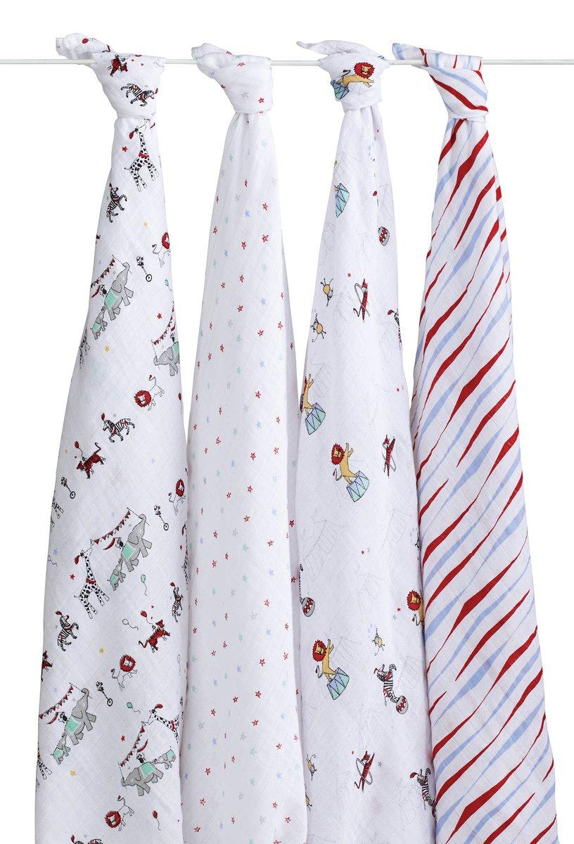 Aden + anais maxi-langes, 100% mousseline de coton, 120cm x 120cm, pack de 4, Vintage Circus 2052G