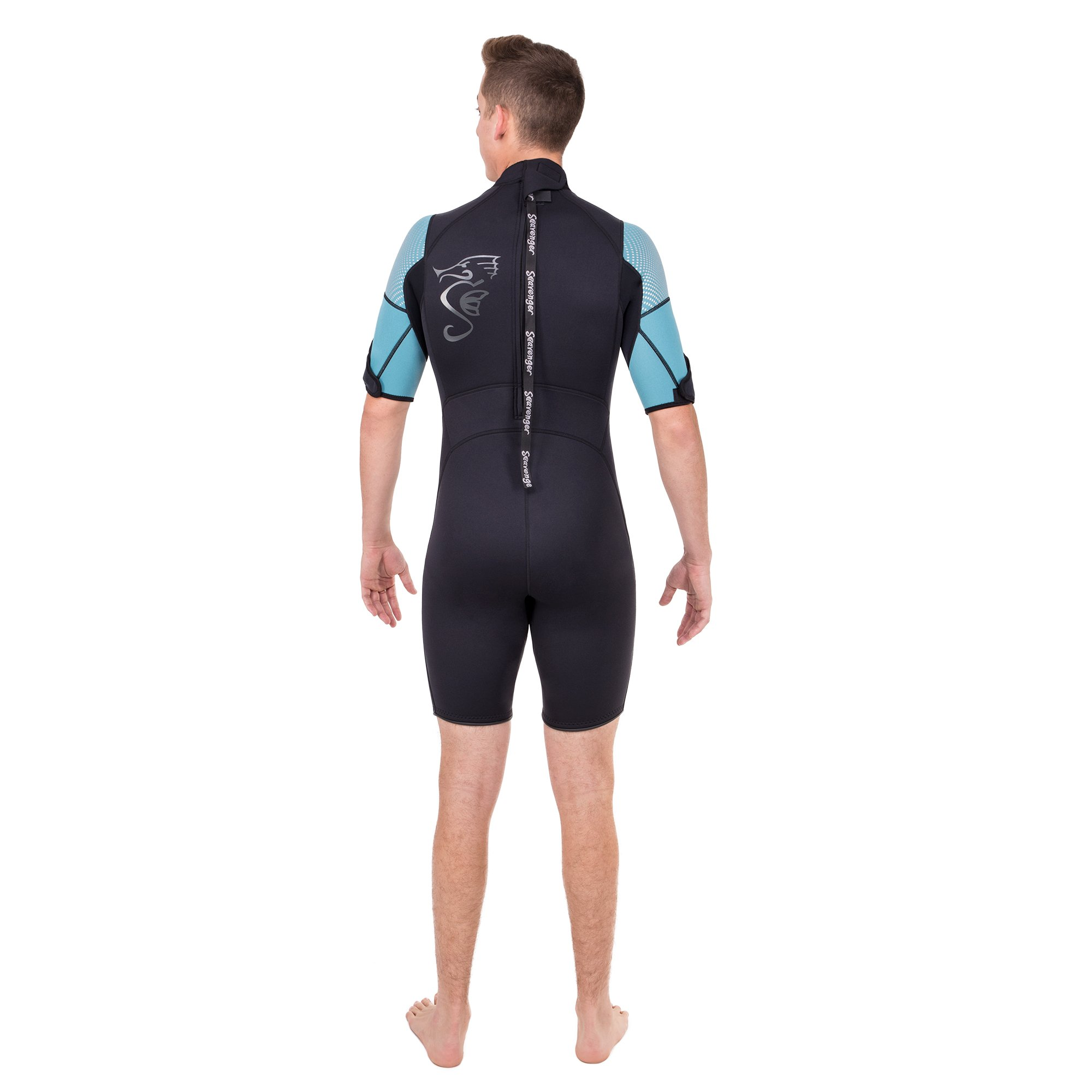 Seavenger Navigator 3mm Shorty | Short Sleeve Wetsuit for Men and Women | Surfing, Snorkeling, Scuba Diving (Surfing Aqua, Men's Small) by Seavenger (Image #3)