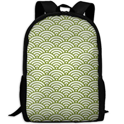 SZYYMM Design Japanese Wave Pattern Oxford Cloth Fashion Backpack,Travel/Outdoor Sports/Camping/School, Adjustable Shoulder Strap Storage Backpack For Women And Men