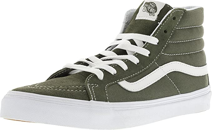 Vans Sk8-Hi Slim Suede and Canvas Grape Leaf True White Ankle-High 105d842ae