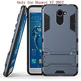 Huawei Y7 Funda, SMTR Ultra Silm Híbrida Rugged Armor Case Choque Absorción Protección Dual Layer Bumper Carcasa con pata de Cabra para Huawei Y7 ,azul marino
