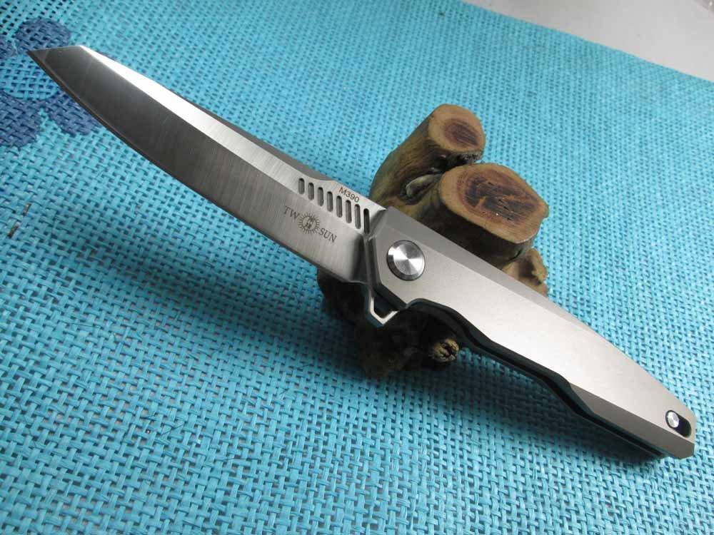 Twosun EDC No Screw Tenon-And-Mortise Work Titanium M390 Folding Knife TS88