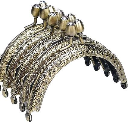 GuoFa 5PCS Metal Purse Frame Coin Bag Kiss Clasp Lock DIY Craft Bronze Diamond Bead 8.5X6.5CM