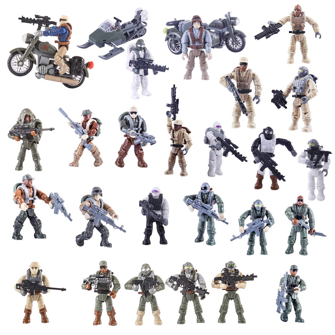 DUS 25er Mini Figuren mit 3er Autos Set SWAT Team Soldaten Minifiguren Armee Set Bausteine für Kinder