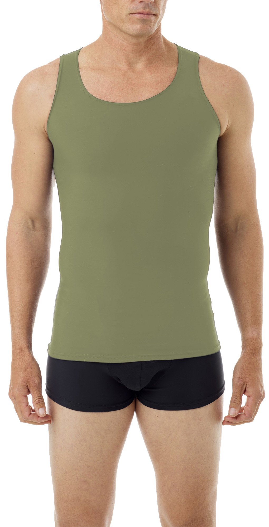 Underworks Mens Microfiber Compression Tank, Small, Khaki by Underworks (Image #1)