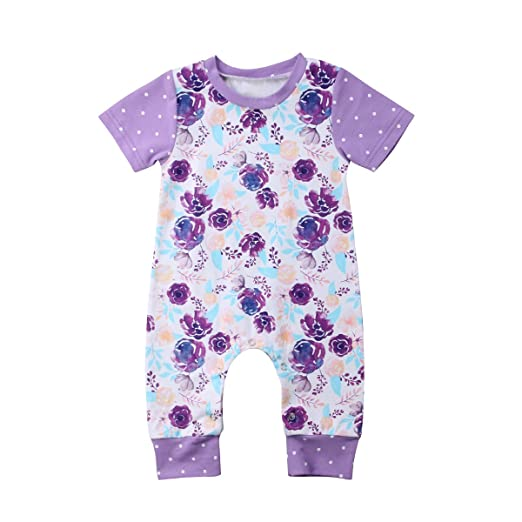 dcc7668938c Newborn Baby Girls Clothes Purple Rose Print Romper Jumpsuit Bodysuit Short  Sleeve One Piece Outfits Summer