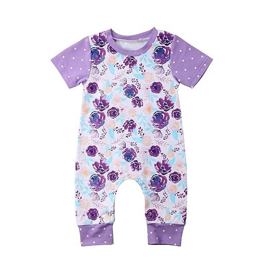 cca0d6ce2 Amazon.com  Newborn Baby Girls Clothes Purple Rose Print Romper ...