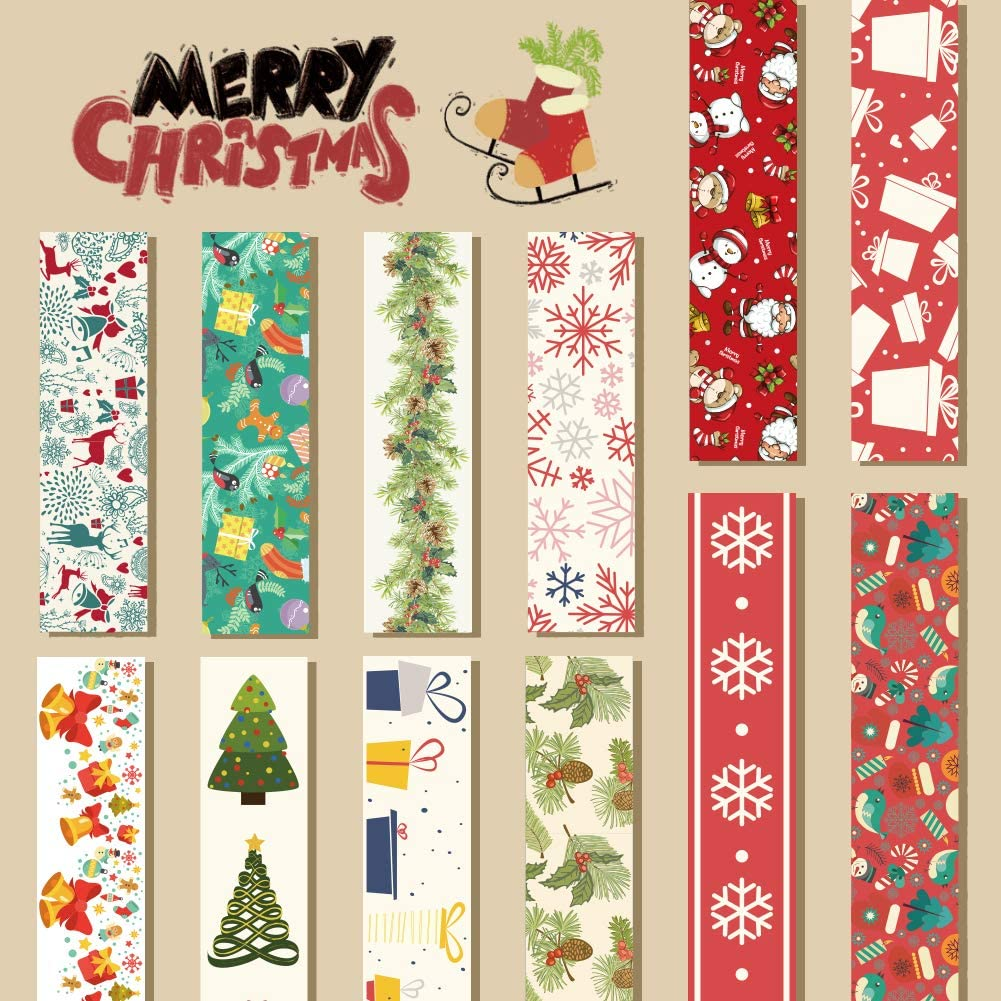 Christmas Washi Tape Set 0.6 x 23ft 12Rolls Merry Christmas Masking Tape Decorative Duct Tape for Xmas Decorations Christmas Party Favors Supplies
