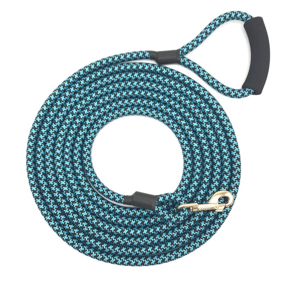 bluee Black (Dia 0.5\ bluee Black (Dia 0.5\ Shorven Nylon Strong Dog Rope Lead Leash Training Dog Lead with Soft Handle 6-20 FT Long bluee Black (Dia 0.5  20FT)