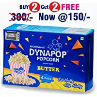 Dynapop Microwave Popcorn Butter Flavour (100gm)(Pack of 4)