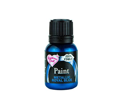 Ready-to-use Metallic Royal Blue 100% Edible Food Paint for Cake and Icing  Decoration by Rainbow Dust