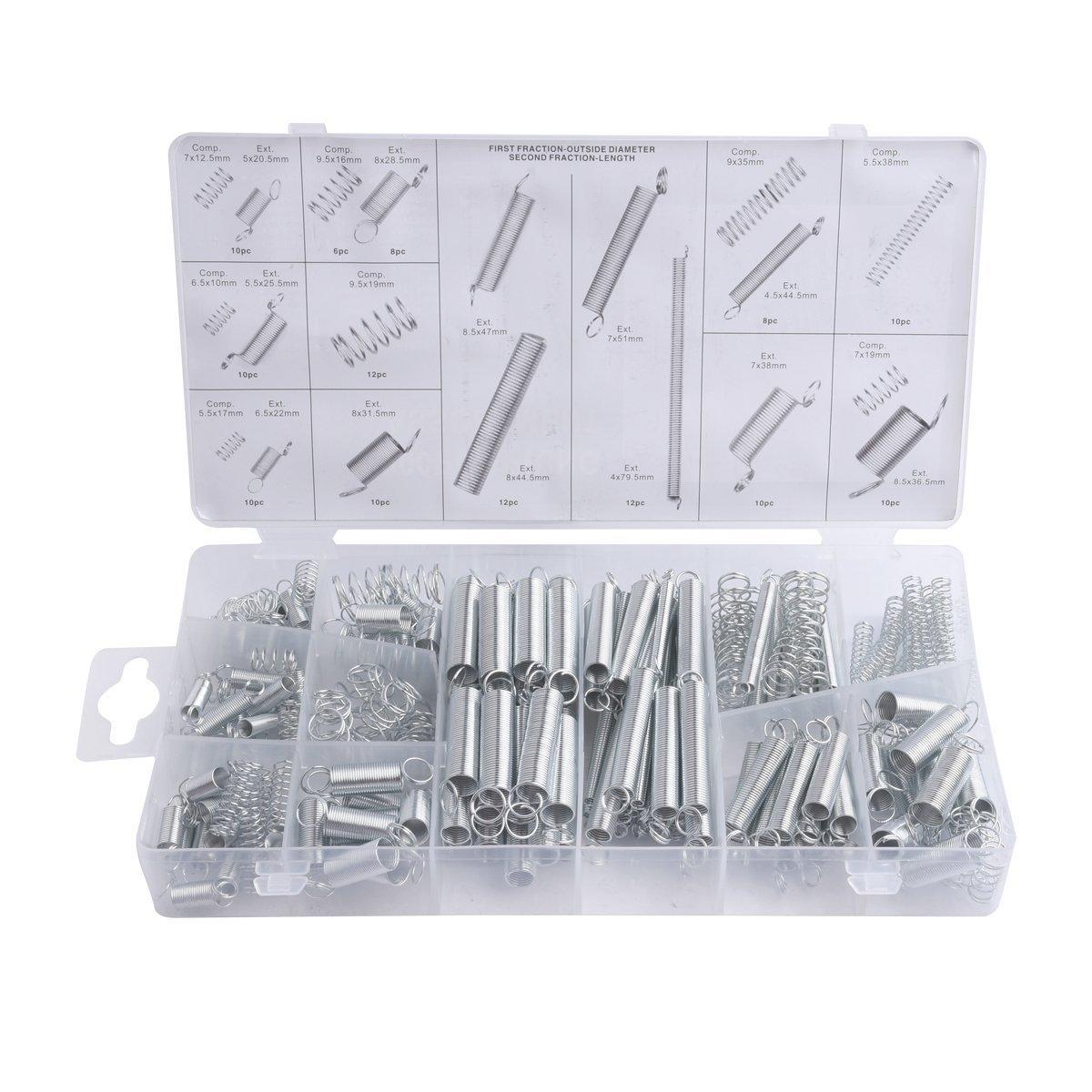 MINGZE 200 Stü ck Federn Sortiment, Druckfedern, Spannfedern, Zugfeder Stahl Verzinkt Reparatur Werkzeugset