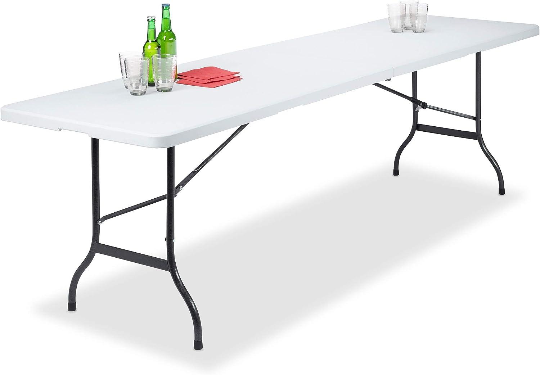 Relaxdays, Blanco, 73 x 240 x 70 cm Mesa Plegable Rectangular con Asa para Jardín y Terraza, Metal y Plástico