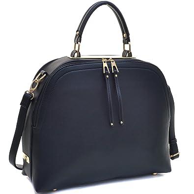 Dasein Women s Classic Buffalo PU Leather Domed Satchel Handbag Work Bag  Shoulder Bag with Shoulder Strap 43522372882a3