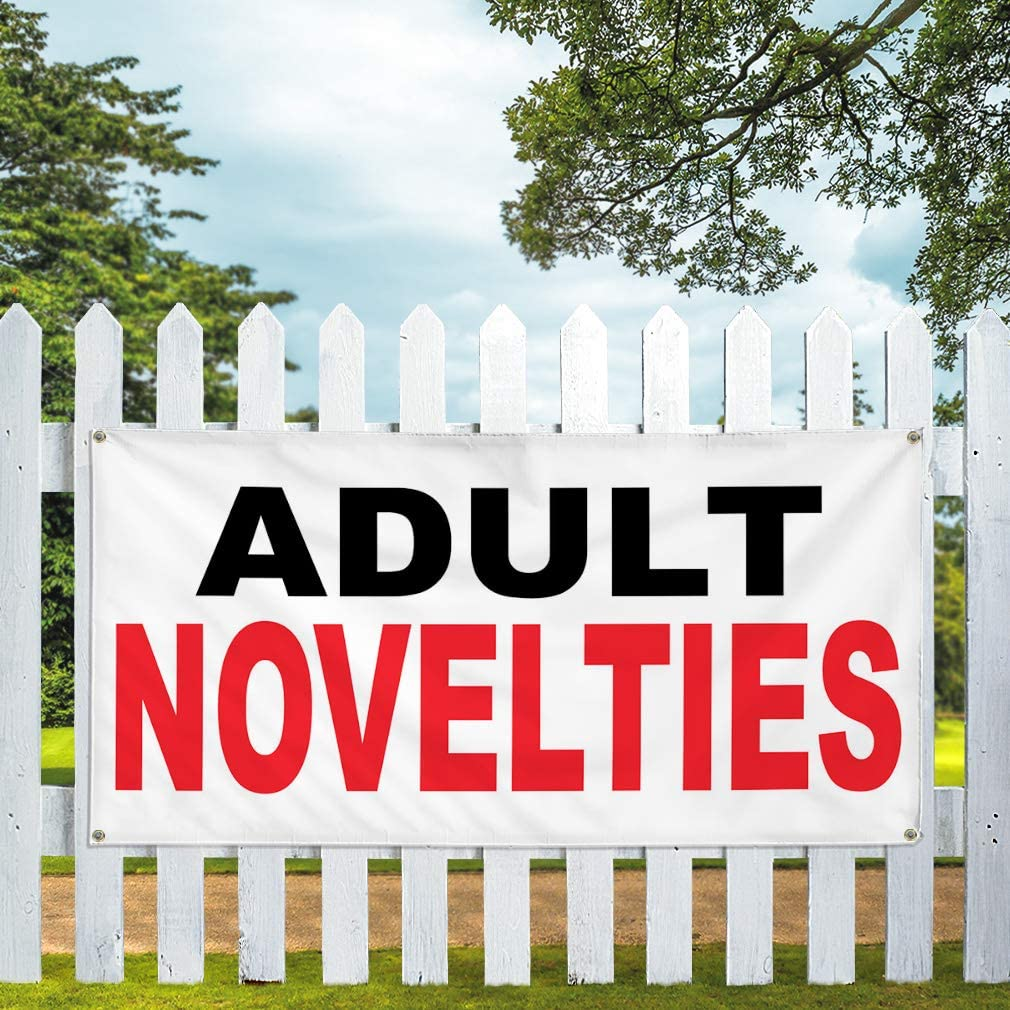 Vinyl Banner Multiple Sizes Adult Novelties Black Red Business Outdoor Weatherproof Industrial Yard Signs 8 Grommets 48x96Inches
