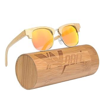 ynport crefreak bambú gafas de sol flotante hecho a mano medio marco de madera ligero gafas Wayfarer cristal con regalo caja de bambú, mujer, ...