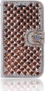 Lenovo Vibe P2 Case,Gift_Source [Card Slot] Handcraft Luxury 3D Rhinestone Crystal PU Leather Folio Flip Magnetic Wallet Case Stand Cover for Lenovo Vibe P2 (5.5 inch) [Gold]