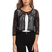 Aranmei Women Lace Shrugs Cropped Cardigan 3/4 Sleeve Crochet Bolero for Evening Dresses