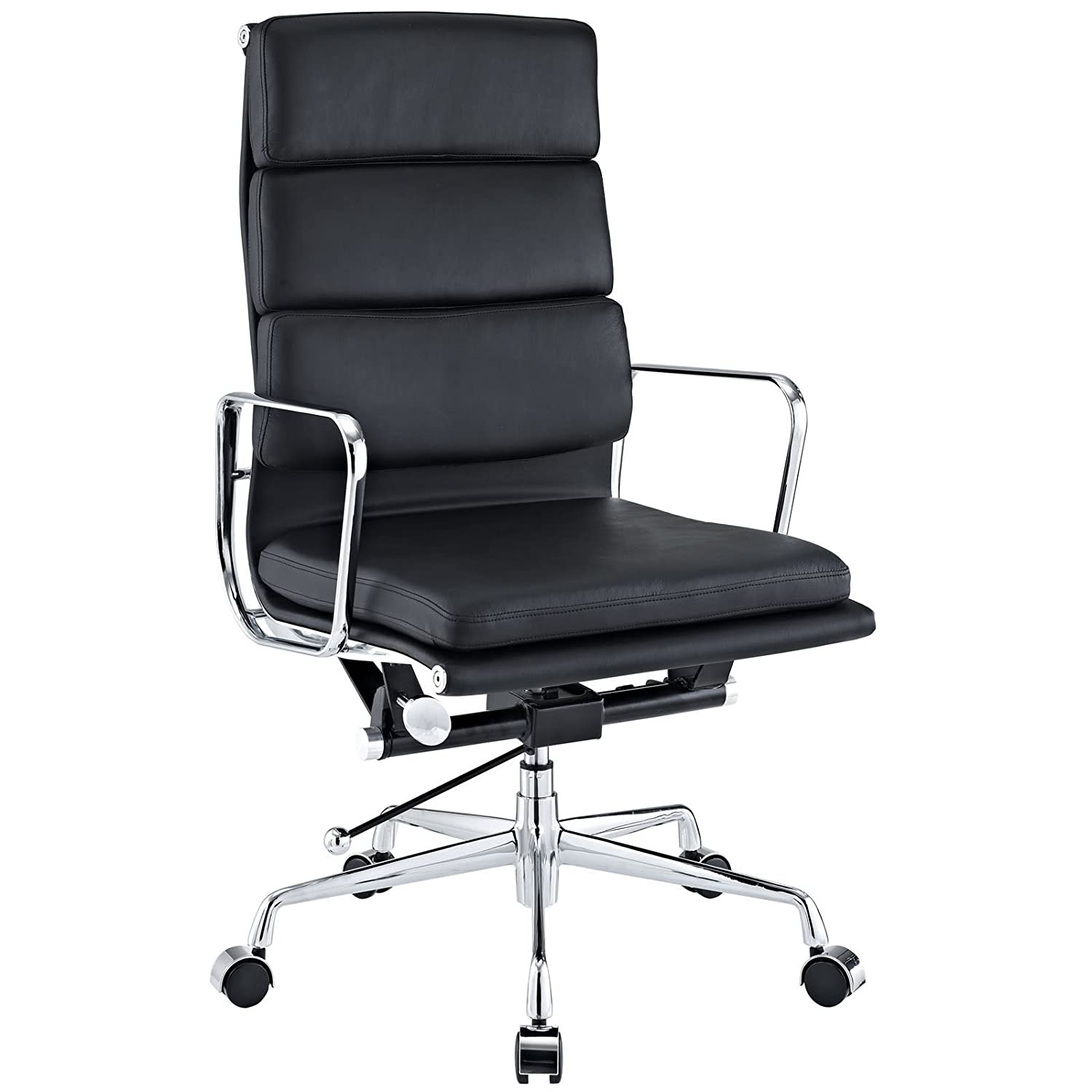 Amazon com emodern furniture emod eames soft pad high back office chair leather black kitchen dining