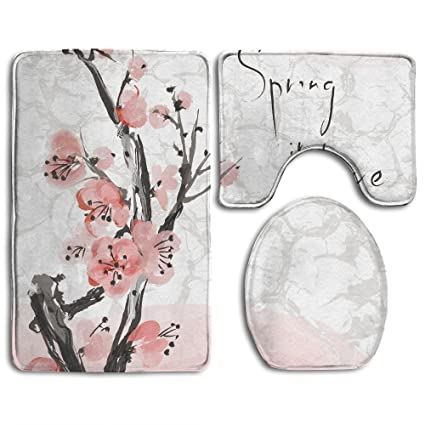 Amazon.com: SarahKen Bathroom Rug Floral Japanese Cherry Blossom ...