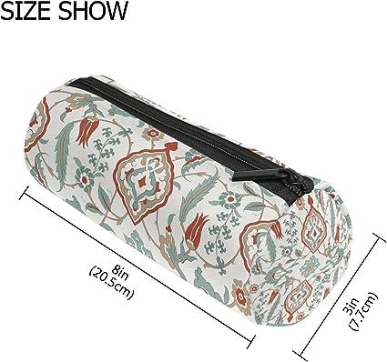 Estuche cilíndrico con forma de cilindro, estilo vintage, diseño de mandala floral a rayas, bolsa de papelería con cremallera para maquillaje: Amazon.es: Oficina y papelería