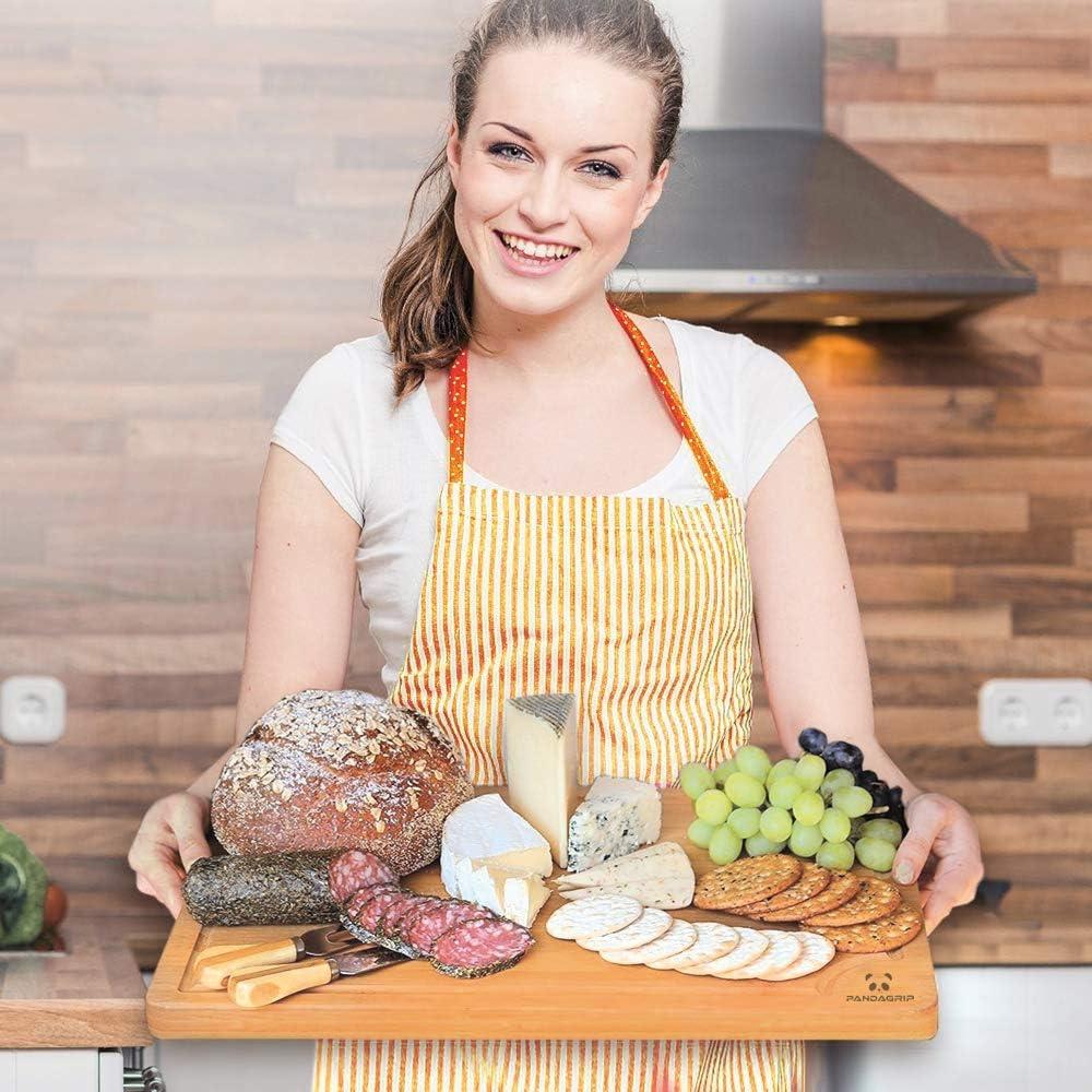 Tagliere in bamb/ù 100/% organico Extra Large Qualit/à professionale ecologico Tagliere da cucina per carne formaggio e verdure 44,5 x 30 x 2 cm Vassoio da Servizio resistente Anti Microbico
