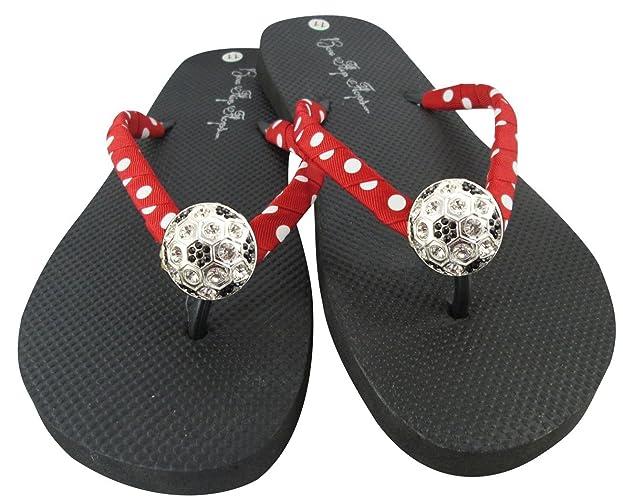 4152d78f3efa Amazon.com  Red Polka Soccer Sparkle Flip Flops