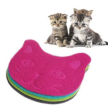 EcLife - Alfombrilla de alimentación para Gatos y Mascotas, con Arena y Bandeja de PVC