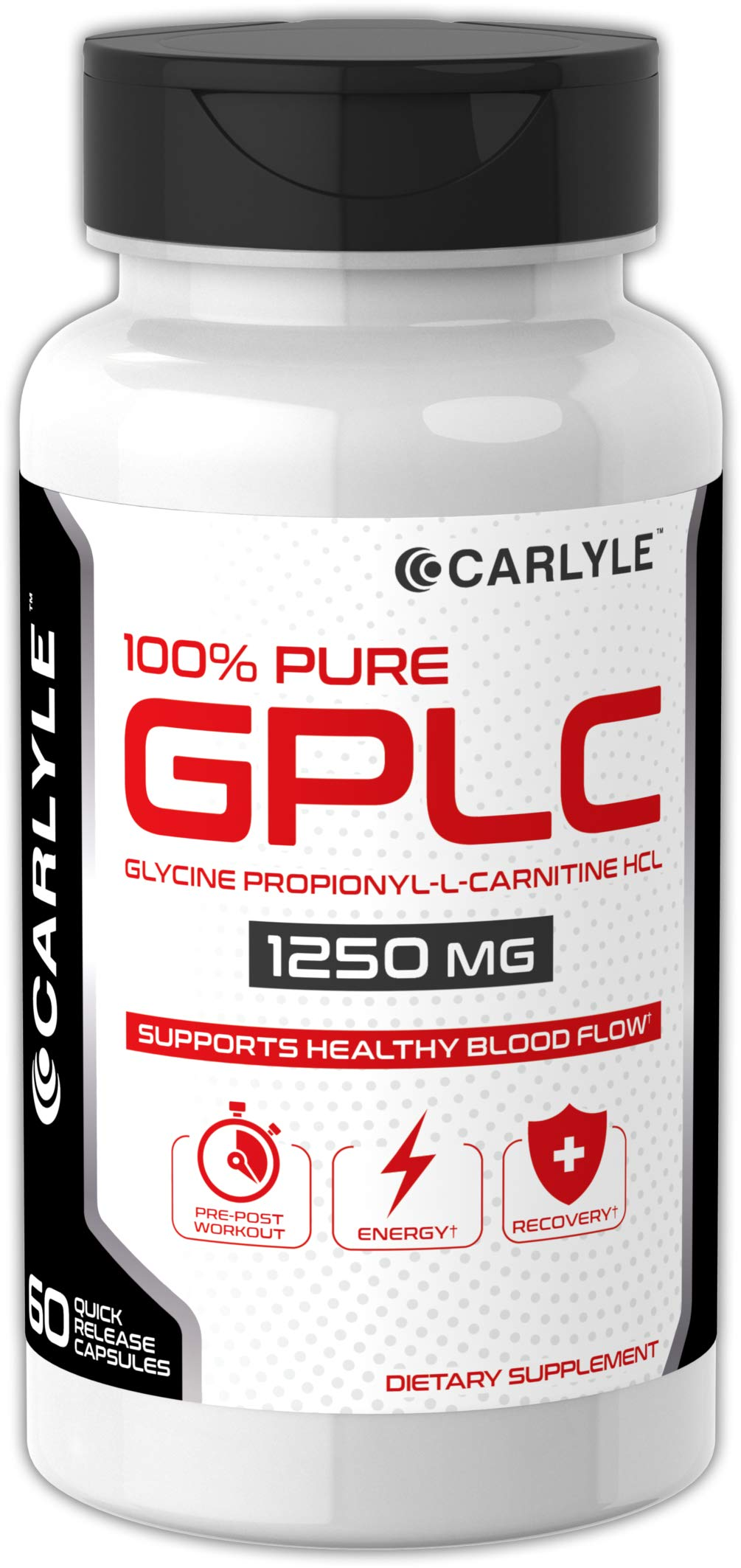 Carlyle GPLC 1250 mg 60 Capsules | Glycine Propionyl-L-Carnitine HCL | 100% Pure, Highest Potency Supplement for Healthy Blood Flow