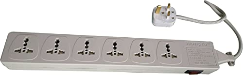 Wonpro WES4-D107 Universal Power Strip 6-Outlet Surge Protector, 110V – 220V 250V