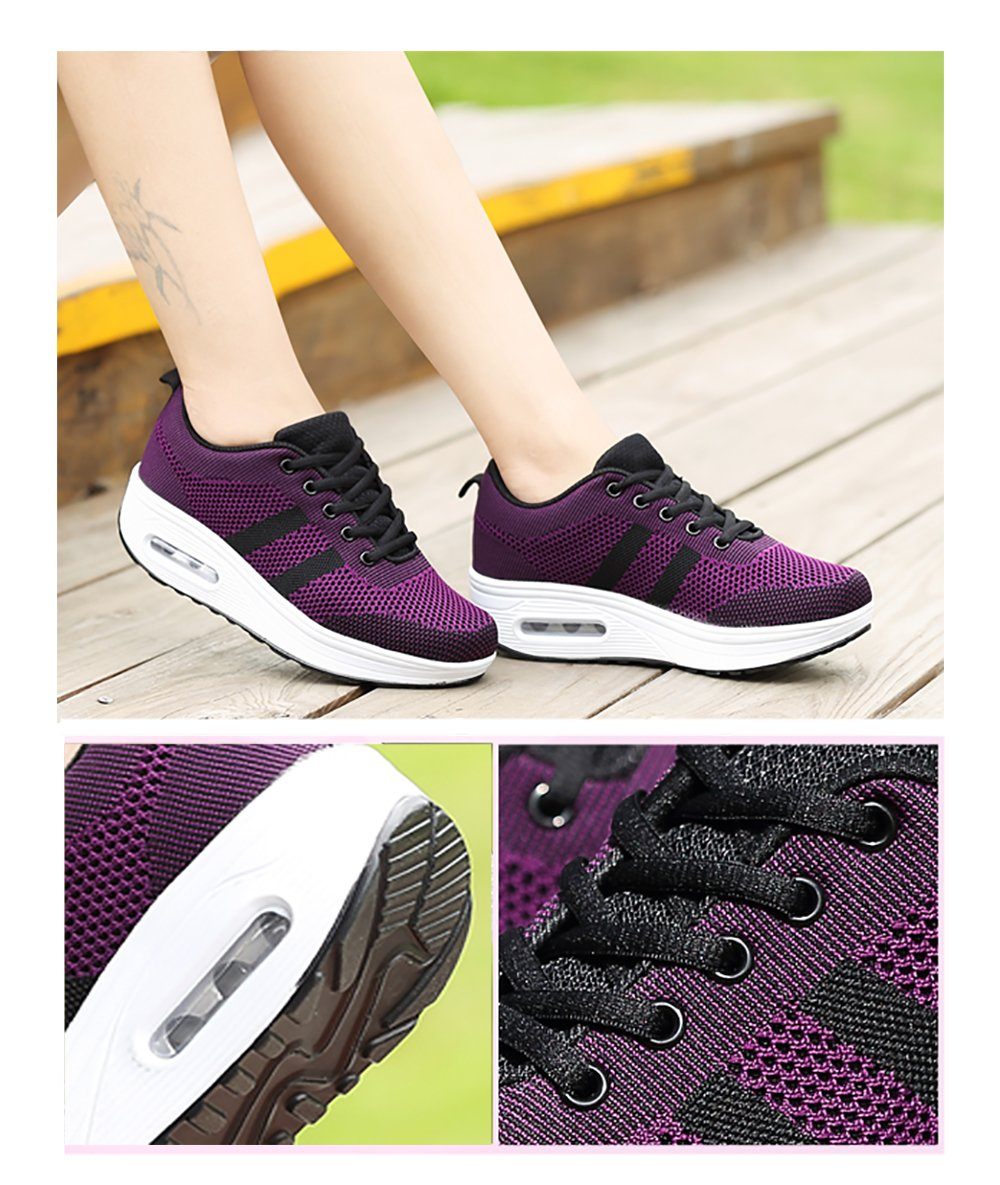 Women's Sports Wedge Platform Shoes Walking Air Cushion Thick Bottom 5 cm Athletic Sneakers Gym Mesh Breathable Pumps Black White Pink Purple US 4-8