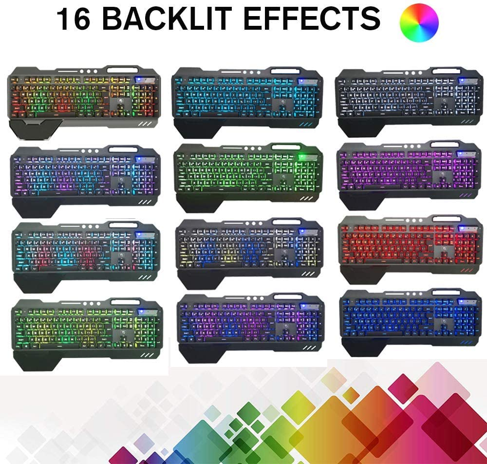 Xflelectronic Gaming Keyboard and Mouse,USB Ergonomic Gaming Mechanical Feel Keyboard,16 Kinds of Backlit USB Wired Game Keyboard,with Hand Rest Keyboard and Mouse Combo