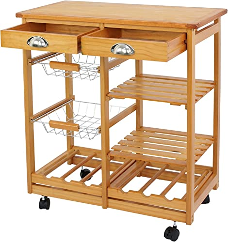 SUPER DEAL Multi-Purpose Wood Rolling Kitchen Island Trolley w/Drawer Shelves Basket