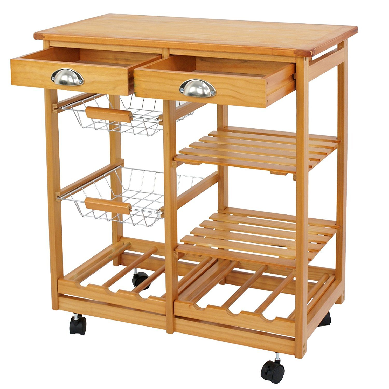 SUPER DEAL Multi-Purpose Wood Rolling Kitchen Island Trolley w/Drawer Shelves Basket by SUPER DEAL (Image #2)