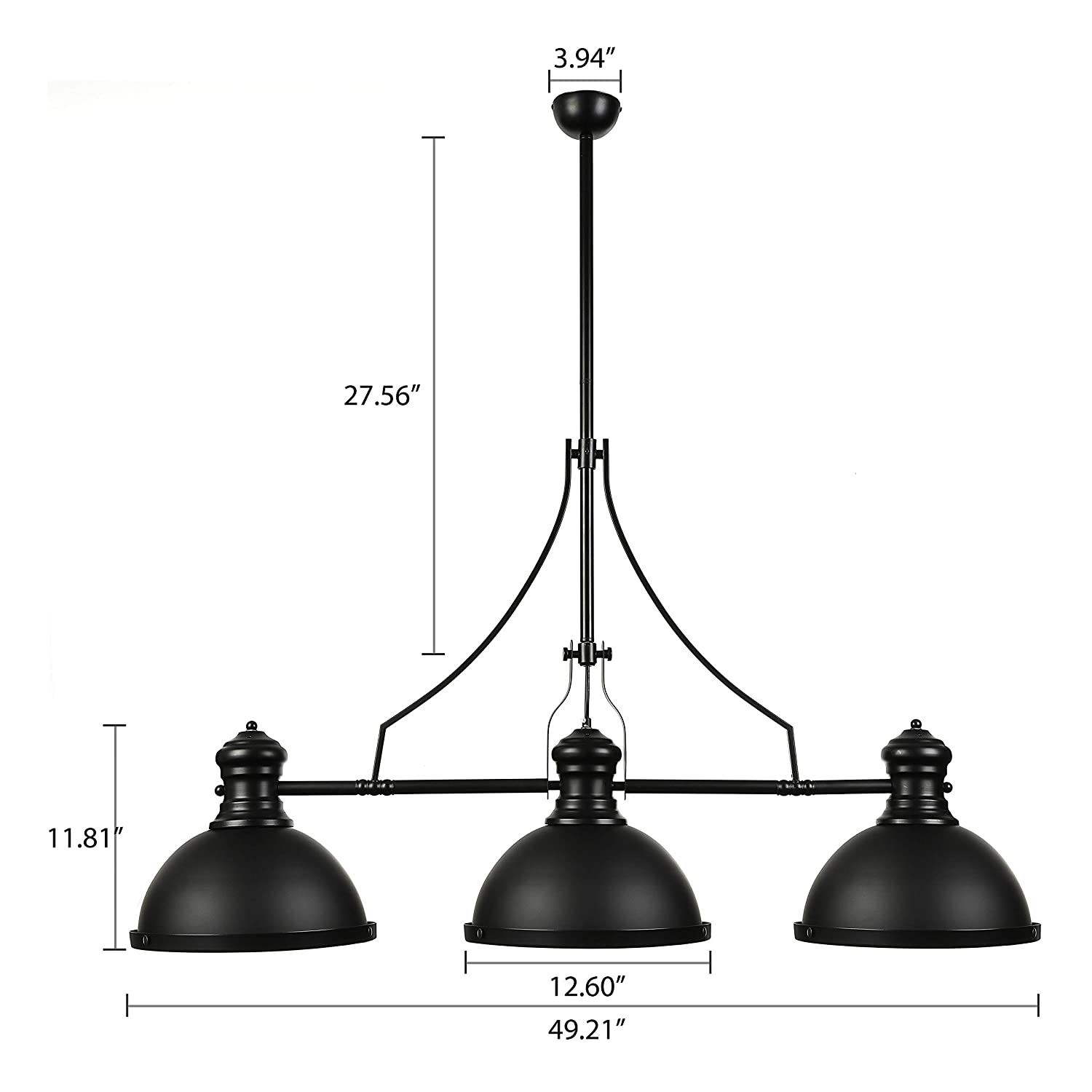 Baycheer Industrial Retro Vintage Style Three Light Pool Table Light