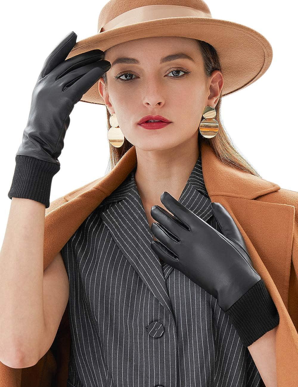 VIKIDEER Warm Winter Genuine Leather Gloves Women Touchscreen Lambskin Driving Riding Gloves