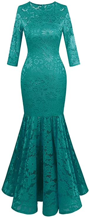 Angel-fashions Mujer Floral Cordon Vestido de Noche Sirena (Small, Turquoise)