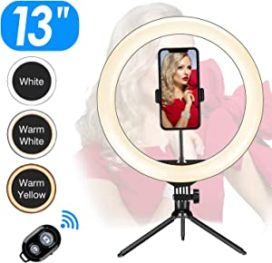 "13"" Ring Light LED Desktop Selfie Ring Light USB LED Desk Camera Ringlight 3 Colors Light 10 Brightness with Tripod Stand Cell Phone Holder and Remote Control for Photography, Make-up, YouTube"