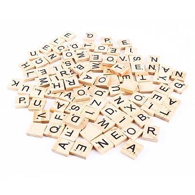 100pièces de bricolage en bois, lettres et chiffres standards pour Scrabble