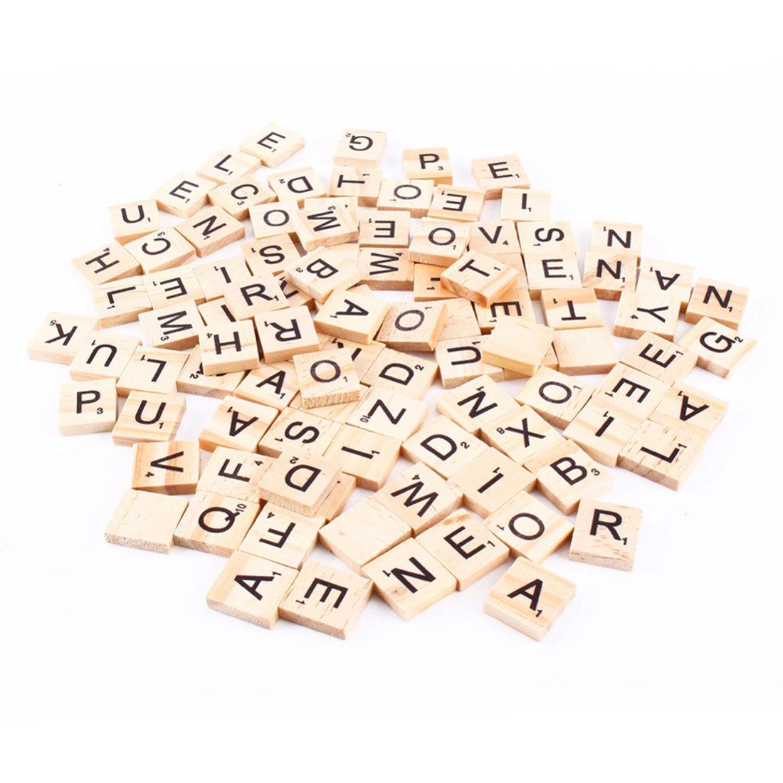 100 Scrabble-Buchstabensteine aus Holz, Buchstaben und Zahlen, kreatives Gestalten Luwu-Store