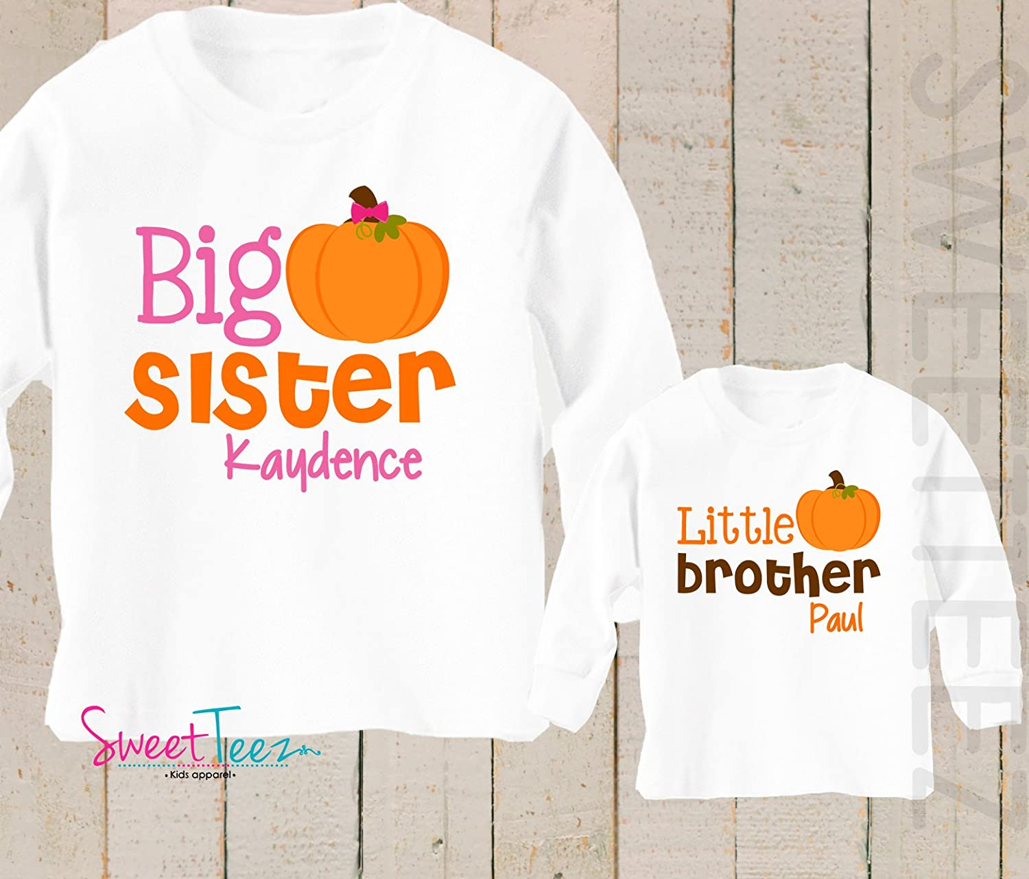 Big Sister Little Brother shirt set Pumpkin Shirt Personalized Thanksgiving Shirt Sibling Shirt Set