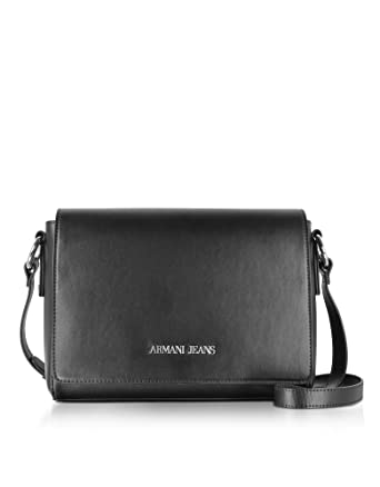 Armani Jeans Women s 922578Cc86400020 Black Faux Leather Shoulder Bag   Amazon.co.uk  Clothing 3c5d23fd841b7