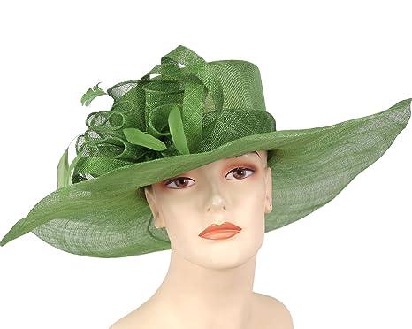 69065cdfafe Ms Divine Wide Brim Sinamay Women's Kentucky Derby Church Hats Dress ...