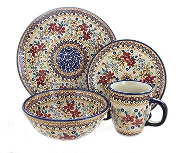 Polish Pottery Red Daisy 4 Piece Dinner Set  sc 1 st  Amazon.com & Amazon.com: Polish Pottery Red Daisy 4 Piece Dinner Set: Kitchen ...