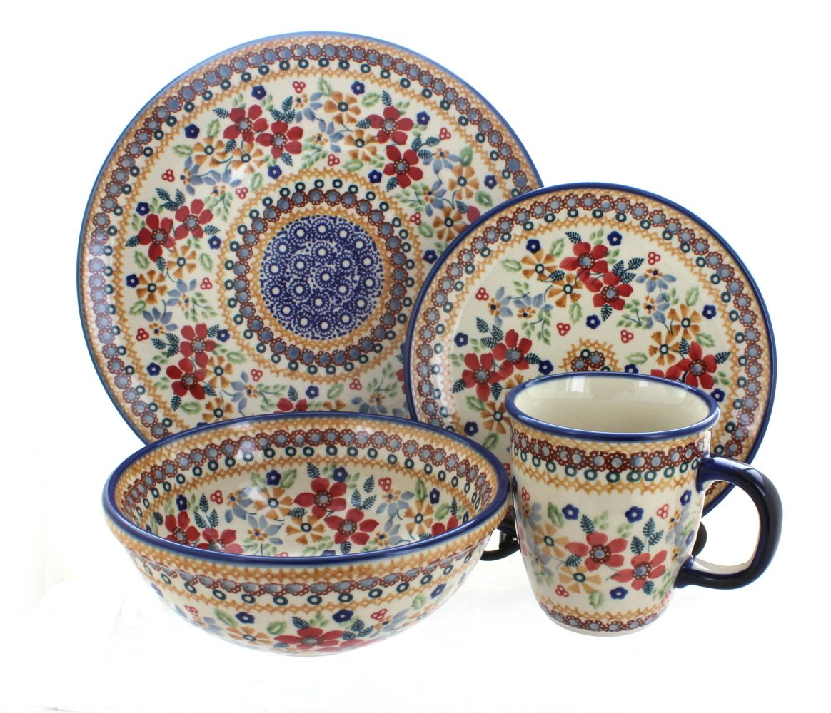 Polish Pottery Red Daisy 4 Piece Dinner Set