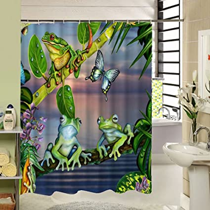 SeaCloud Frog Shower CurtainFrogs With Butterfly Are Chatting In The Garden Green Plant