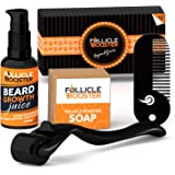 Complete Beard Growth Kit - Titanium Beard Derma Roller - Organic Beard Growth Serum with Follicle Growth Peptides and Biotin - Vitamins Cleansing Soap - Pocket Beard Comb - The Men