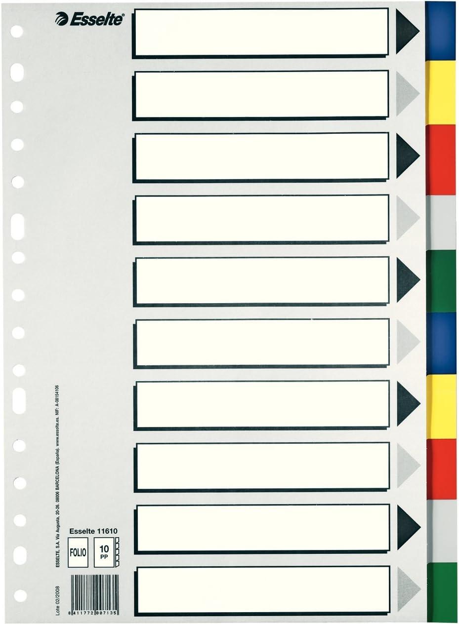 Esselte Separadores de plástico, PP, Tamaño folio, Gama ECO, 10 pestañas, Multicolor, 11610