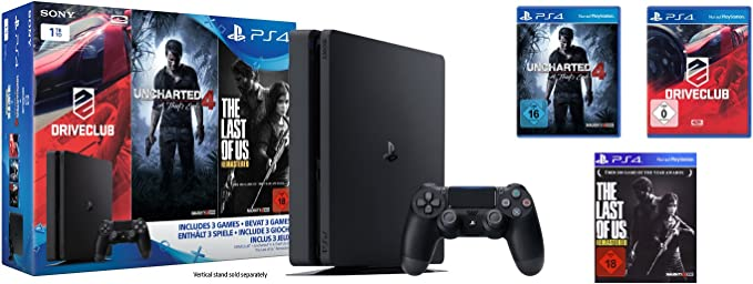 Playstation 4 - Konsole (1 TB, Schwarz,Slim) Inkl. Uncharted 4 + Driveclub + The Last Of Us [Importación Alemana]: Amazon.es: Videojuegos